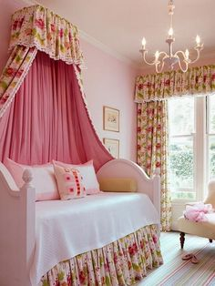 How to Create a Girls Bedroom with a Floral Canopy | Things Girls Want