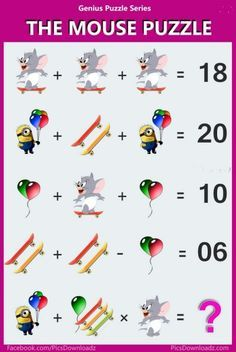 The Mouse Puzzle - Viral Logic Math Puzzle Image. Solve this fun math puzzle image. Viral Brainteasers Math Puzzles, Fun maths puzzle questions with answers. brain math puzzles for kids and adults. Picture Puzzles Brain Teasers, Brain Teasers For Kids, Mind Puzzles, Maths Puzzles, Fun Math, Math Games, Logic Math, Math Genius, Math Challenge