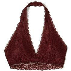 0a16808da7 Hollister Lace Halter Bralette With Removable Pads ( 17) ❤ liked on  Polyvore featuring intimates