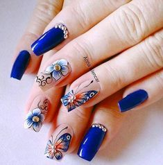 Taking the lead in everything fashion and beauty, nail trends out of Korean never fail to enchant us. This time, their eye-catching nail art designs are blowing up our soci… Nail Art Designs, Nail Design Spring, Korean Nail Art, Butterfly Nail Art, Beautiful Nail Art, Stylish Nails, Blue Nails, Nail Trends, Christmas Nails