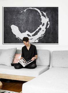 Handmade Original Painting, Large Abstract Acrylic Painting, Canvas Painting Black White Modern Art Minimalist Painting.