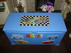 Toy box for boys with painted lid