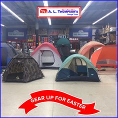 Gear up for Easter!  We have all your camping needs. #ALThompsons #tents #Easter #camping #stoves