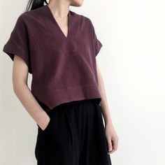 "227 Likes, 3 Comments - 7115 By Szeki (@7115nyc) on Instagram: ""V-Neck Cropped Top in maroon //"""