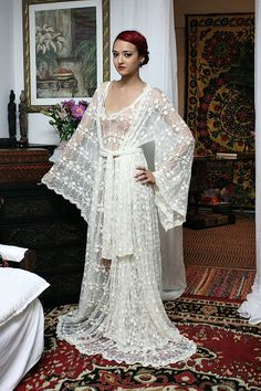 Heirloom Lace Bridal Robe Embroidered French by SarafinaDreams