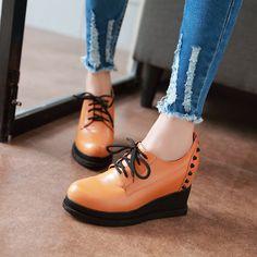 Women Wedges Studded Round Toe Lace Up Platform Shoes 3412