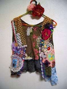 Upcycled Bohemian Hippie Green Lace Doily Vest by ApricotCircus, $168.00
