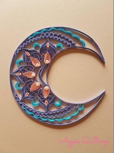 Beautiful Quilled Half Moon Mandala, Made To Order - Quilling Flowers Color Combinations Quilling Letters, Paper Quilling Patterns, Paper Quilling Jewelry, Origami And Quilling, Quilled Paper Art, Quilling Paper Craft, Quilling Craft, Paper Crafts, Quilling Ideas