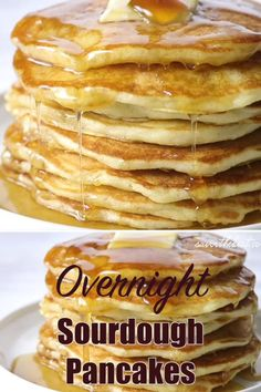 These overnight sourdough pancakes are a delicious way to use your excess sourdough starter. They are soft, tender, and fluffy and remind me of breakfast at grandmas house. Sourdough Pancakes, Sourdough Recipes, Sourdough Brioche Recipe, Sourdough Starter Discard Recipe, Breakfast Dishes, Bread Baking, Pain, Cooking Recipes, Blender Recipes