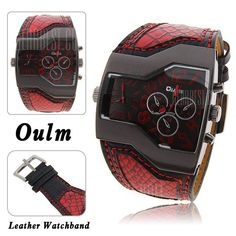#Oulm #Men #Military Sports #Watch Dual Movt Quartz Wristwatch with Leather Band Decorative Sub - dials - #RED