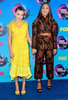 Millie Bobby Brown and Maddie Ziegler attend the Teen Choice Awards 2017 (Aug 13).