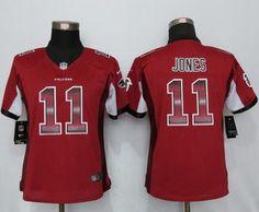 Nike Falcons #11 Julio Jones Red Team Color Women's Stitched NFL Elite Strobe Jersey