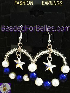 Cowboys Inspired Sliver Hoop Earrings with Silver Star Accents