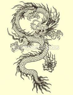 Дракон татуировки Иллюстрация — стоковая иллюстрация #31278595