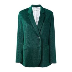 GOLDEN GOOSE DELUXE BRAND Glitter Blazer ($386) ❤ liked on Polyvore featuring outerwear, jackets, blazers, green, green blazer, blazer jacket, golden goose, glitter blazer and long sleeve jacket