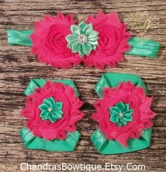 Dark Pink and Teal Headband and Barefoot by PrincessDesign