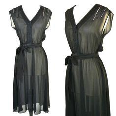 1980s Black Sheer Shirtwaist Sleeveless Dress by Jonathan