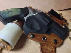 Custom Kydex Leather Hybrid appendix holster for the Ruger Made by D… Custom Leather Holsters, Titanium Metal, Concealed Carry Holsters, Kydex Sheath, Kydex Holster, Guns And Ammo, Leather Tooling, Firearms, Leather