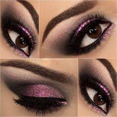 Black and pink makeup