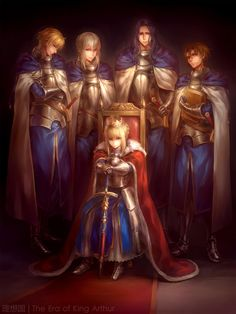 British squad! Arthur, Galwain, Bedivere, Lancelot, and is that Hector? or something... Rip Tristan