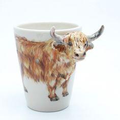 Cow Highland Scottish Mug Ceramic Stoneware Handmade Cofee Cup Decor