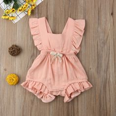2019 Brand New Infant Newborn Baby Girls Ruffle Rompers One-Pieces Clothes Baby Girl Summer Sleeveless Romper Jumpsuit Sunsuit - June 15 2019 at Ruffle Romper, Baby Girl Romper, Baby Girl Dresses, Baby Girls, Kids Girls, Baby Dress, Fashion Kids, Baby Girl Fashion, Latest Fashion