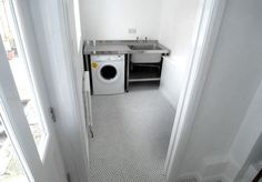 Laundry, penny tile, stainless