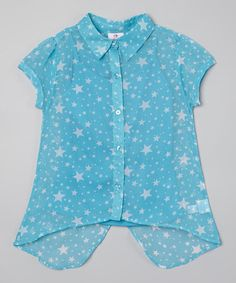 Look what I found on #zulily! Turquoise Star Button-Up Top - Girls by Dollhouse #zulilyfinds