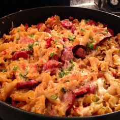 Spicy Turkey Sausage Pasta: I made it and it is DELICIOUS! The two most notable things are that it uses amazing turkey sausage and the noodles do not have to be boiled before being dumped into the pan! It's a new staple at my house! Turkey Sausage Pasta, Spicy Sausage Pasta, Sausage Pasta Recipes, Turkey Recipes, Beef Recipes, Cooking Recipes, Healthy Recipes, Dump Recipes, Cooking Ideas