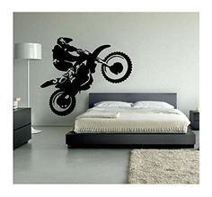 Motocross Decor, Dirt Bike Wall Decal Personalized, Boys Motocross ...