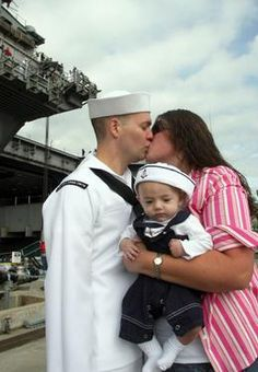So sweet! Sailor baby welcomes home dad