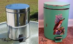 A Pretty Trash Can Makeover For A Cottage Style Kitchen Before and After Trash Can Makeover #beforeandafter #ShabbyChicMakeovers #TrashCanmakeover