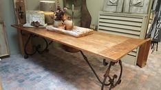 Tafelblad Floris en onderstel smeedijzer Romano Dining Table, Decor, Furniture, Table, Home, Wooden, Rustic Dining Table, Home Decor