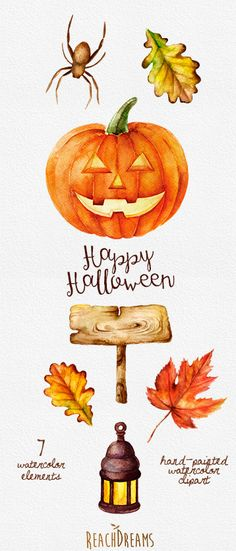 Halloween watercolor clipart Pumpkin Autumn leaves wooden