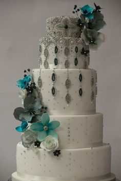Beaded opulence wedding cake ~ all edible