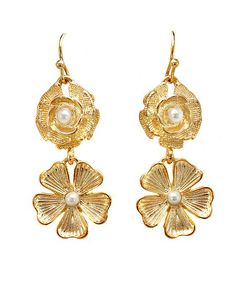 Lolita Jewelry-Double Flower Drop Earrings with Pearl Center ON SALE $9.00 & FREE SHIPPING