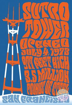 """Psychedelic Sutro Tower  featuring Opened July 4, 1973, 977 Feet High, 3.5 Million Pounds of Steel!!  Print styled like the famous San Francisco psychedelic concert posters from back in 1967, The Summer of Love!  Numbered and signed by the artist. 13"""" x 19"""" Archival Quality Giclee Print 50 lb. Ultra Premium Matte Stock Shipped rolled in heavy duty mailing tube No Watermark on Actual Print  Trippin' in Frisco!!"""
