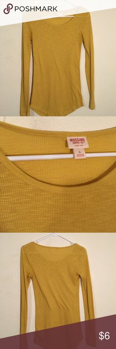 Ribbed mustard top Long-sleeves, ribbed top with a long and lean fit. Scoop neck. Perfect condition, only worn once. Mossimo Supply Co Tops Tees - Long Sleeve