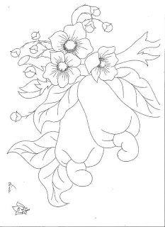 Vários riscos para pintura (frutas) Fruit Coloring Pages, Flower Coloring Pages, Coloring Books, Hand Embroidery Flowers, Hand Embroidery Patterns, Embroidery Art, Art Drawings For Kids, Wood Burning Art, Arte Floral