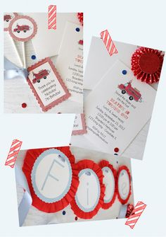 Firetruck invitation and paper party goods by Icing Designs