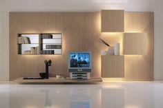 ensemble mural tv placage bois clair LIFE par Roberto Monsani à LED