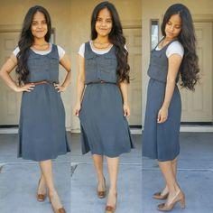 Gray Dress! #dresses #neutrals #longhair #wavyhair #nume #numestyle #ootd #outfitdetails #modestfashion #modest #modestymovement #styleinspiration