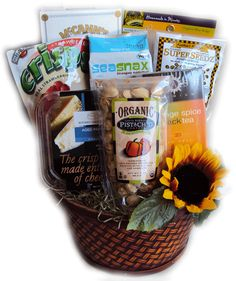 Diabetic Healthy Birthday Basket for Her--perfect gift basket for the woman with diabetes.