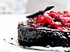 A raspberry chocolate pie. Recipe comes from JANSENmagazine website: http://networkedblogs.com/q0yB2
