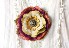 Fabric Flower Brooch Pin - Orange, Purple, Yellow Bloom