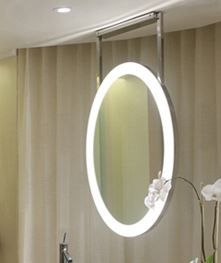 27 Elite Ceiling Mount Lighted Mirror With Opt Upgrades Brushed Or Polished Fus Eli Mirror Electric Mirror Mirror With Lights