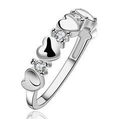 * Penny Deals * - HMILYDYK Fashion Classic Jewelry Swarovski Elements Crystal Heart Sterling Silver plated Ring 925 *** Learn more by visiting the image link.