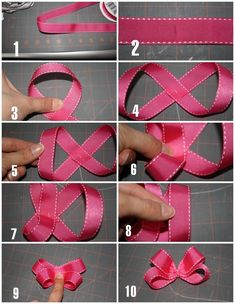 little bow tutorial Mais little bow tutorial. I'll need this to make my fascinator for the KY Derby! Here& the tutorial for making the bows I posted earlier. It would have just been a million photos to upload. Bow making method step by step Looks pretty s How To Make Ribbon, Diy Ribbon, Ribbon Crafts, Ribbon Bows, Ribbons, Making Hair Bows, Diy Hair Bows, Bow Making, Dog Bows