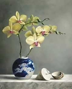 Pieter Wagemans Flower Masterpieces by Pieter Wageman's, still life inspiration for events, celebrations, gift giving, Fine Art and home decor. Art Floral, Orchids Painting, Still Life Flowers, Still Life Art, Botanical Prints, Beautiful Paintings, Painting Inspiration, Watercolor Flowers, Land Art