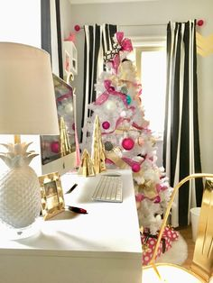 Create a Winter Wonderland with festive Holiday decor from HomeGoods.The aisles are full of Christmas accessories. I found these gold trees, hot pink bottle brush tree and whimsical black white and gold glass ornaments that pop against the white tree. While you're there grab a few decorative storage boxes and wrapping paper. Sponsored Happy By Design Post